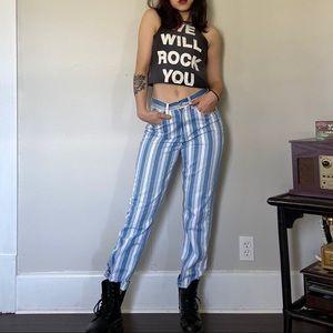 American Eagle Blue White Striped Jeans